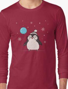 Christmas Penguin Balloon Long Sleeve T-Shirt