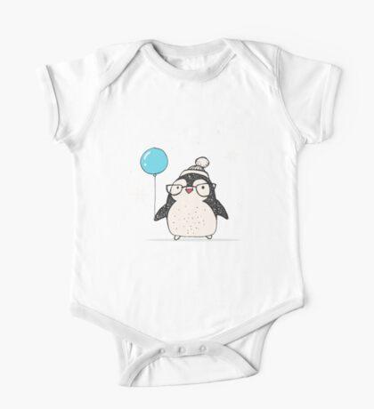 Christmas Penguin Balloon One Piece - Short Sleeve