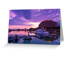 Yacht pier at sunset time in Hong Kong Greeting Card