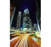 Busy traffic in Hong Kong at night Photographic Print