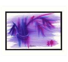 Lilac Mist - watercolor zen bamboo painting Art Print