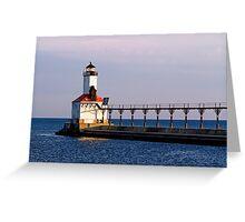 Michigan City, Indiana Light at Dawn Greeting Card