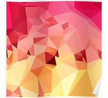 Rose Bonbon Pink Abstract Low Polygon Background Poster