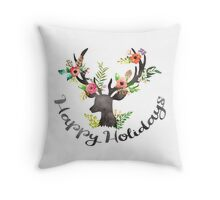 Floral Holiday Deer Throw Pillow