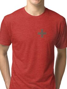 Celtic Cross in Green and Blue Tri-blend T-Shirt
