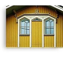 Blue Windows & Yellow Wall Canvas Print