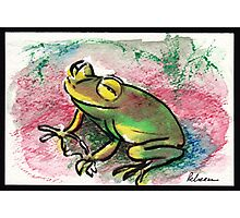 Happy Frog - watercolor & prisma pencil painting  Photographic Print