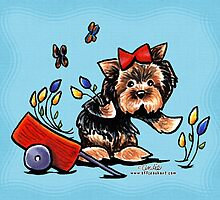 Yorkie Flower Girl by offleashart
