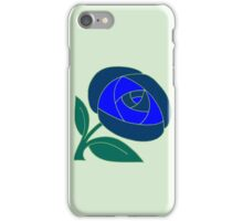 Retro Seventies style rose flower blue iPhone Case/Skin