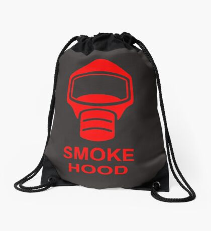 Emergency Escape Mask (or Smoke Hood, or Gas Mask) Sign Drawstring Bag
