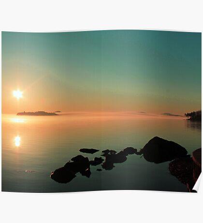 Misty Late Winter Morning Lake Winnipesaukee Poster
