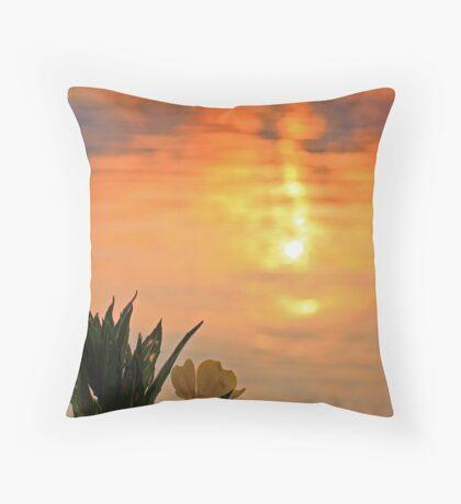 Shoreline Flower at sunrise Winnipesaukee Throw Pillow