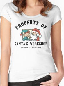 Property Santa's Workshop Christmas T-Shirt Women's Fitted Scoop T-Shirt