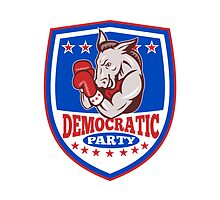 Democrat Donkey Mascot Boxer Shield by patrimonio