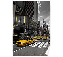 Yellow Cabs race on the Time Square Poster