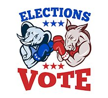 Democrat Donkey Republican Elephant Mascot Election Vote by patrimonio
