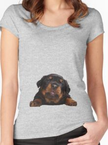 Cute Rottweiler With Tongue Out Isolated Women's Fitted Scoop T-Shirt
