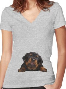 Cute Rottweiler With Tongue Out Isolated Women's Fitted V-Neck T-Shirt
