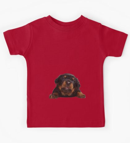 Cute Rottweiler With Tongue Out Isolated Kids Tee
