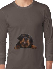 Cute Rottweiler With Tongue Out Isolated Long Sleeve T-Shirt