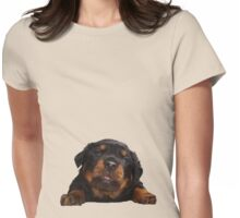 Cute Rottweiler With Tongue Out Isolated Womens Fitted T-Shirt
