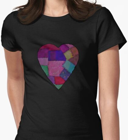 patchwork heart   Womens Fitted T-Shirt