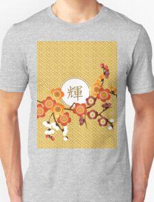 Japanese Plum Blossoms Gold Orange Red Kagayaki Radiance T-Shirt