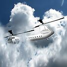 Chinook type Helicopter Descending into Cloud by Dennis Melling