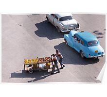 Pushing the fruit cart. Poster