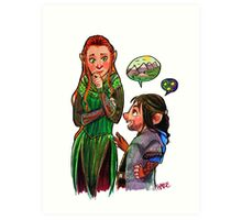 The Red Haired Elf and Puppy Dwarf  Art Print