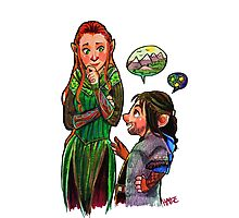 The Red Haired Elf and Puppy Dwarf  Photographic Print