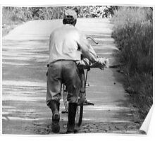 Pushing my bike. Poster