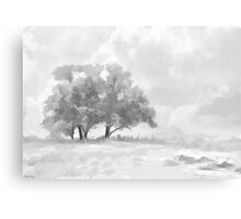 Snowy Scene Drawing Canvas Print