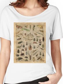Insects Bugs Flies Vintage Illustration Dictionary Art Women's Relaxed Fit T-Shirt