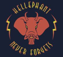 Hellephant - Pyrokinetic Red on Dark Blue by Koobooki