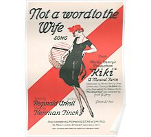 NOT A WORD TO THE WIFE (vintage illustration) Poster