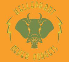 Hellephant - Maulive Green on Gold by Koobooki