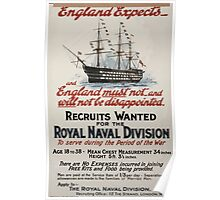 England expects and England must not and will not be disappointed Recruits wanted for the Royal Naval Division 137 Poster