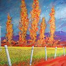 The Poplars By The Yellow Field by Richard  Tuvey