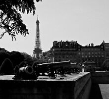 The canons of the Invalides and Eiffel tower Paris by Pat Garret