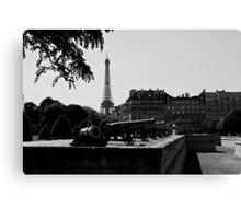 The canons of the Invalides and Eiffel tower Paris Canvas Print
