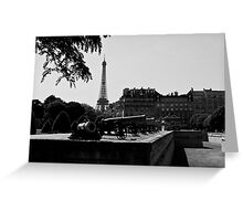 The canons of the Invalides and Eiffel tower Paris Greeting Card