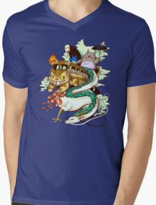 Ghibli world Mens V-Neck T-Shirt