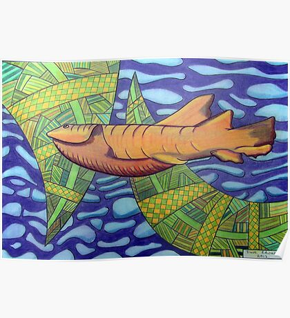 363 - SHARK DESIGN - DAVE EDWARDS - COLOURED PENCILS - 2012 Poster