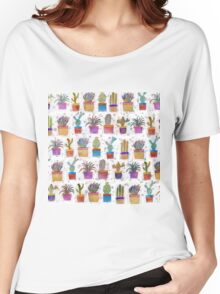 Watercolor hand paint cactus pattern Women's Relaxed Fit T-Shirt