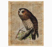 Owl Vintage Illustration Over Old Encyclopedia Page Kids Tee