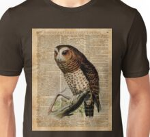 Owl Vintage Illustration Over Old Encyclopedia Page Unisex T-Shirt