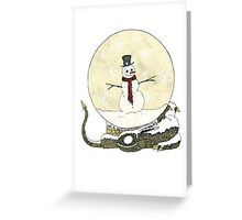 Dragon Snoman Snowglobe Greeting Card