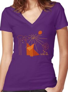 Cute Origami Fox Is Happy Women's Fitted V-Neck T-Shirt