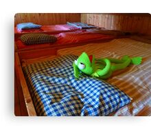 Frog Kermit Tired Sleep Bed Canvas Print